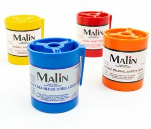 4 color coded canisters of Malin lockwire